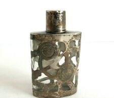"Vintage STERLING SILVER Inlay Glass Perfume Bottle SIGNED  37.6 Gms  3"" Tall"