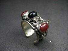 R1105 BOLD 3 Stone Green Onyx Agate Ftribal ASHION BOHO Gypsy Ring NEPAL TIBETAN