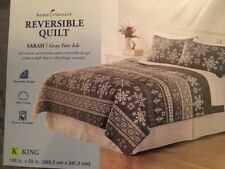 Home Classics Sarah Gray Fair Isle Reversible King Christmas Snowflake Quilt