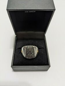 Effy Mens 925 Sterling Silver 18K Yellow Gold Black Sapphire Ring 1.45 WT. Sz 10
