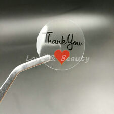"""100PC Round  """"Thank you with red Heart"""" Transparent Sealing Sticker 30*30mm"""