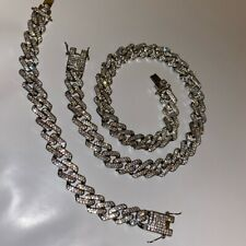 Mens Silver Chain Set Belcher Chain Choker 18inch Iced Out Trapstar Hiphop Bling