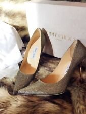 Jimmy Choo Agnes Glitter Pointed-Toe Pump 85mm, Light Gold Size 38/7.5 $625