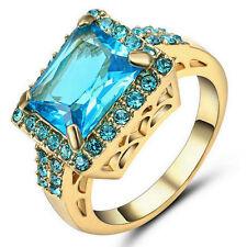 Square Blue Aquamarine Wedding Band Ring Gold Rhodium Plated Jewelry Size 8