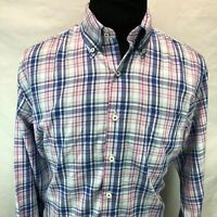 Peter Millar Pink Blue Red Plaid Long Sleeve Button Down Large ZZ18