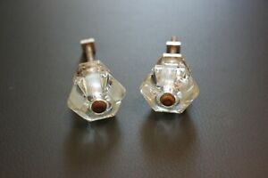 """Pair of Vintage Antique Clear Glass Etched Hexagon Drawer Door Knobs Pulls 1.25/"""""""
