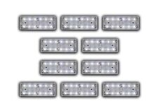 SET OF 10 UNITS 24V 12 LED WHITE FRONT SIDE MARKERS CLEARANCE LIGHTS TRUCK LORRY