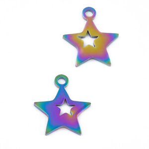 Stainless Steel Star Charms Rainbow 12x14mm Pack Of 2
