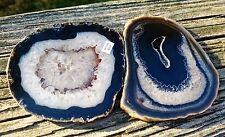 "2 Brazilian Agate Geode DRUZY quartz crystal Slab/Slice Natural  3.5""-3.75"""