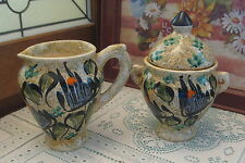 Vallauris Decor Main French Pottery Creamer & Sugar Bowl Hand Made Hand Painted