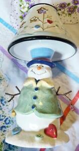 Kohls Snowman Tealite Holder Christmas Decor Luminary Light Lamp 10-1/2 Inch