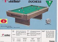 VINTAGE AD SHEET #1824 - FISCHER BILLIARDS POOL TABLE - DUCHESS