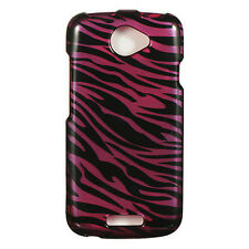 For T-Mobile HTC ONE S HARD Protector Case Snap On Phone Cover Plum Zebra