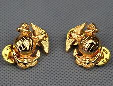 beautiful PAIR USMC US MARINE CORPS MARINES EMBLEM INSIGNIA COLLAR BADGE