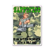 "Happiness Gun Automatic Weapon car bumper sticker decal 5"" x 4"""