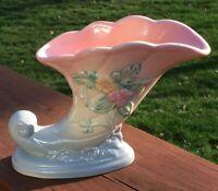 Vintage Hull Art USA Pottery Wildflower Cornucopia Vase Pink to Blue W-7-7 1/2