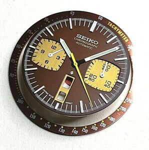 ONE SET OF DIAL, HANDS & OUTER BEZEL FOR 6138-0040 BROWN BULLHEAD AUTO CHRONO!