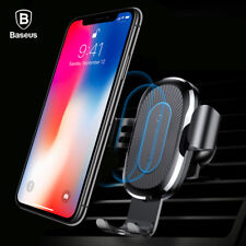BASEUS Gravity Car Air Vent Mount Wireless Charging Holder for iPhone and Samsung - Black