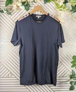 Burberry Mens Black T Shirt Classic Nova Check Detail Size Medium
