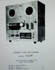 AKAI 1722W 1722L STEREO TAPE RECORDER SERVICE MANUAL INC SCHEMS PRINTED ENGLISH