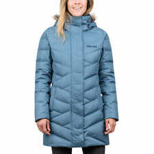 NWT Marmot Women's Varma Jacket Long Down Blue Faux Fur Hood SMALL Coat Parka