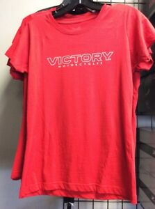 Ladies Victory Motorcycle Dealer Back Shirt Red (Small)