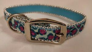 Blue Bling Sparkling Fashion Dog Lead & Collar Set Faux Leather Heavy Duty