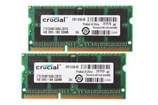 Crucial 8GB 2X 4GB RAM 2RX8 PC3-8500S 204Pin DDR3 1066Mhz SODIMM Laptop Memory