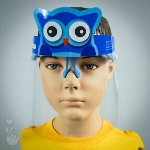 Kid's Face Shield Anti-Splash Guard for Boys and Girls Blue Owl
