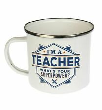 Teacher Camping Enamel Tin Metal Mugs Cups Outdoor Gardening Picnic New