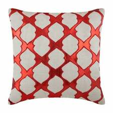 """European Pillow Sham Red 24""""x24"""" Decorative, Faux Leather Pattern - All Time Red"""