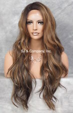 """Heat Safe long Wavy Layered LACE FRONT WIG Brown Auburn Blonede 24"""" AUR SOM7002"""