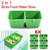 6Pcs 2 in 1 Bird Food Water Bowl Feeder Hamster Cage Dual Feeding Cups Parrot