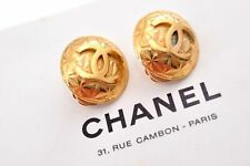 Authentic CHANEL Clip-On Earrings CC Logo Gold Plated Box 88139
