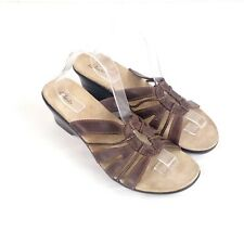 Clarks Womens sz 11 M Brown Leather Open Toe Wedge Slip On Sandal
