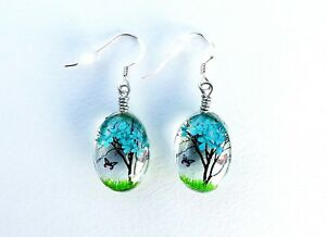 Blue Tree Earrings, Butterflies, Nature, Gaia, Woodland, Sterling Silver Wires