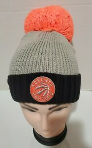 NBA Toronto Raptors Women's Cuffed Knit Hat with Neon Pom, Grey, One Size