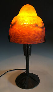 RARE Antique Art Deco L. Katona Marked Wrought Iron Pine Lamp Degue Glass Shade