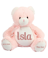 Personalised Birth Bear Baby Girl Pink Bear Birth Announcement New Baby Gifts