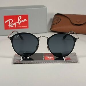 Authentic Ray-Ban Blaze Round Sunglasses Black Silver Gray Lens RB3574N 003/87