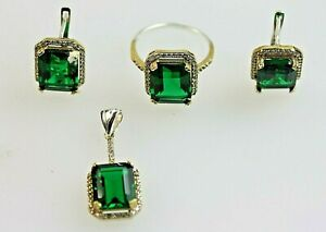 Emerald Cut Emerald Green Stones 3 Piece Suite Set Pendant Earrings Ring