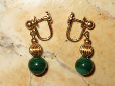 Vintage 14kt Gold Screw-Back Dangle Earrings with Malachite