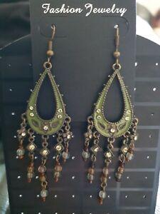 BNWT Long Green Brown & Bronze Bead & Diamante Chandelier Earrings