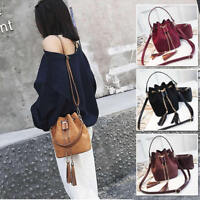 Small Mini Faux Leather Single Shoulder Bag Crossbody Purse Bucket Bag 2 PCs Set