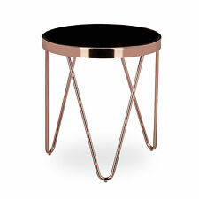 Relaxdays table d'appoint, cuivre & verre, 46 x 42 x 42, design table basse