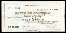 Banco de Coahuila 10 Pesos O.P. FALSO 10.07.1913, M1006b / MI-COA-47 VF.