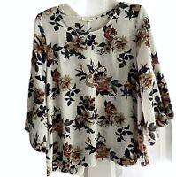 TWELVE MONTHS 64122 Bell Sleeve Boho Flowy Floral Blouse Top Women's Medium M