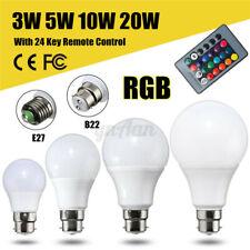 E27/B22 5/10/20W RGB Colour Changing LED Light Lamp Bulb Remote Control  R F R