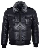 Men's Leather Jacket Black Fur Collar Bomber Air Force 100% REAL LEATHER Pilot-8
