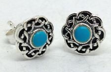 Turquoise Celtic round 8mm Stud Earrings Solid Sterling Silver Actual Ones. UK.